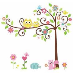 HQdeal rimovibile Adesivo da parete Cartoon Decor Adesivi Wallpaper Owl Albero Squirrel