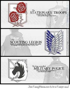 Legion in Attack on Titan via otaku land page  I choose wings of freedom. I would be a scout.
