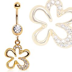 Gold Plated CZ Flower Navel Ring