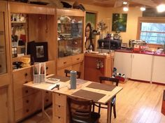 This is my glass fusing studio all set up for a few folks to come in and work on their own things.  It is amazing to be able to see so much floor, it is never this tidy :)