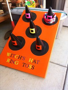 "Pinner wrote, ""My parents made this awesome ring toss game for Halloween!"" ~ Gre… Pinner wrote, ""My parents made this awesome ring toss game for Halloween!"" ~ Great CARNIVAL or FALL FESTIVAL GAME! Spooky Halloween, Halloween Carnival Games, Halloween Class Party, Halloween Games For Kids, Kids Party Games, Halloween Festival, Funny Halloween, Preschool Halloween Party, Carnival Ideas"
