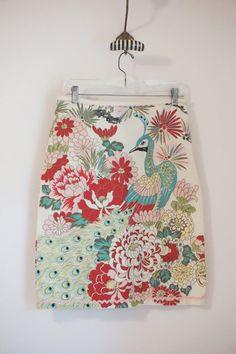Anthropologie Tabitha Peacock Floral Pencil Skirt Cotton Size 8  #Tabitha #StraightPencil
