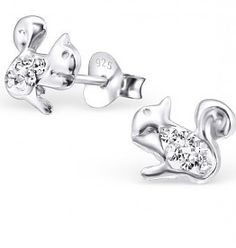 Girls Fox Colorful Ear Studs 925 Sterling Silver