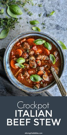 Crockpot Italian Beef Stew is an easy slow cooker recipe that's rich and flavorful, with beefy, herby tomato broth made with best-tasting @RedGoldTomatoes and fork-tender bites of beef and vegetables. It's straight-up comfort food! #ad #redgoldtomatoes #stew #soup #comfortfood #soupersupper Slow Cooker Meatloaf, Crock Pot Slow Cooker, Slow Cooker Recipes, Crockpot Recipes, Beef Stew Crockpot Easy, Best Slow Cooker, Crockpot Dishes, Crock Pot Cooking, Chowder Recipes