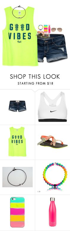 """""""Gd vibes"""" by sweettoothegj ❤ liked on Polyvore featuring Hollister Co., NIKE, Victoria's Secret, Chaco, Casetify, S'well and Ray-Ban"""