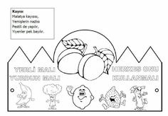 Kayisi Classroom Activities, Book Activities, Fruit Crafts, First Grade, Pre School, Malta, Coloring Pages, Diagram, Black And White