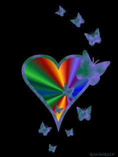 'Regenbogen Herz mit Schmetterling auf schwarz 22 ' von artkszp bei artflakes.com als Poster oder Kunstdruck $16.63