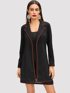 Contrast Tipping Notched Collar Coat | SHEIN