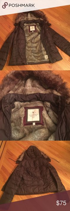 Abercrombie & Fitch fur lined jacket Brown jacket. Fur inside jacket and hood. Detachable fur trim hood. Double zipper. Two front pockets. Medium Abercrombie & Fitch Jackets & Coats Puffers