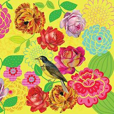 print & pattern: DESIGNER - bebel franco. Colors flowers and birds