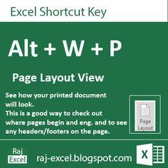 Raj Excel: Microsoft Excel 2013 Short Cut Keys: Alt + WP (Pag...