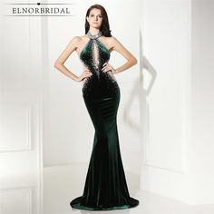 Elnorbridal Real Photo Green Mermaid Backless Evening Dresses Long 2017  Velvet Robe De Soiree Prom Party b301b3bfc47b