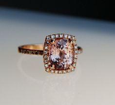Love!!!2.8ct cushionl peach champagne sapphire 14k rose gold diamond ring engagement ring. $3,100.00, via Etsy.