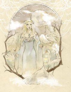 Swan Lake by fee-absinthe on DeviantArt Goddess Art, Moon Goddess, Charcoal Art, Swan Lake, Elves, Mystic, Fantasy Art, Fairy Tales, Art Pieces