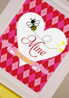 Welcome guests to your party with a sweet #printable bee art print. #Valentines