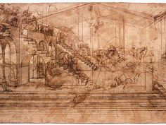 Leonardo da Vinci Adoration of the Magi (study), , Galleria degli Uffizi, Florence. Read more about the symbolism and interpretation of Adoration of the Magi (study) by Leonardo da Vinci. Michelangelo, Renaissance Kunst, Italian Renaissance, Leonardo Da Vinci Inventos, Art Ninja, Backgrounds Wallpapers, Perspective Sketch, Point Perspective, Silverpoint