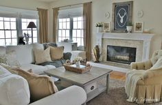 Farmhouse family room on a budget! You will be amazed to see how affordable this beautiful room is.
