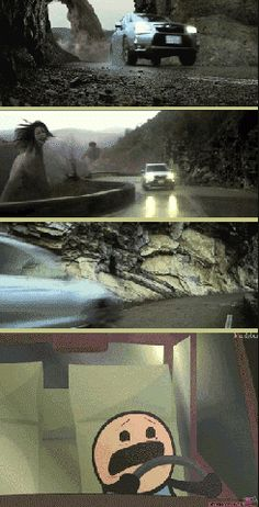 Attack on titan car commercial (gif). I think I would be freaked out of my mind!! I'm not so sure I could watch a Shingeki No Kyojin live action btw. It could be really scary and gruesome!! I barely survived the anime!lol