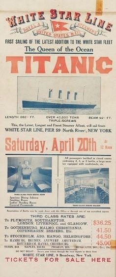 Travel Posters We Want to Buy Now Extremely rare Titanic poster offering class tickets for return voyage!Extremely rare Titanic poster offering class tickets for return voyage! Rms Titanic, Titanic History, Titanic Sinking, Titanic Photos, Titanic Museum, Ancient History, Belfast, Vintage Advertisements, Vintage Ads