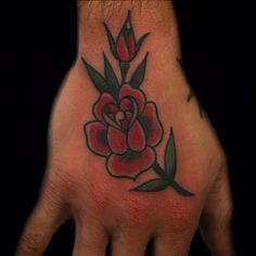 """steffanrosstattooer: """"Rose on the hand today for Jordin. Made (at HB Tattoo) """" Leaf Tattoos, Hand Tattoos, Traditional Tattoos, American Traditional, March, Rose, Pink, Tattoo Old School, Old School Tattoos"""