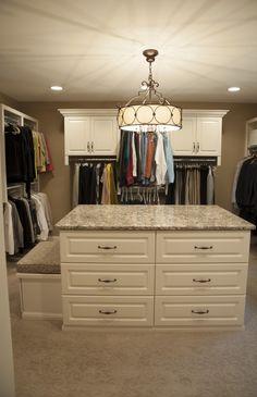 Antique White Closet Cabinetry.