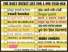 Making each day fun with a baby - activities with a 1 year old w: free printables - The Daily Bucket List for a One Year Old