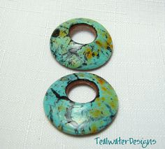 Handmade Polymer Clay Faux Turquoise Earring Beads - Round Cutout -Jewelry Supplies by TealwaterDesigns on Etsy