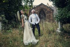 A Corpse Bride Wedding Inspiration: creative photos of bride & groom in a graveyard