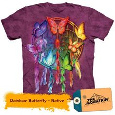 Butterfly Ladies Tee with Rainbow Butterfly Dreamcatcher design by Carol Cavalaris. Get The Mountain Bird T-Shirt Collection here we have the lowest prices. Rainbow Butterfly, Purple Butterfly, Native American T Shirts, Dreamcatcher Design, Plus Size T Shirts, Tye Dye, Colorful Shirts, Graphic Tees, Tee Shirts