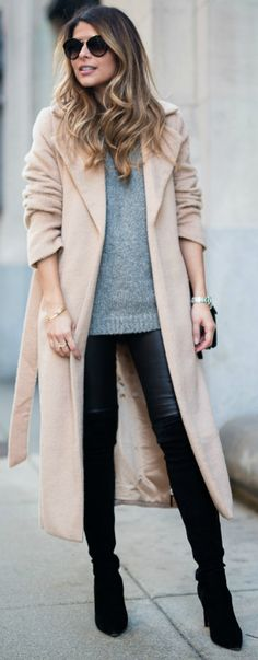 Pam Hetlinger + thigh high boots + black pair + tight leather leggings + simple grey knit sweater + pale pink maxi coat   Coat: Missguided, Boots: Neiman Marcus.