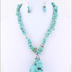 Turquoise Stone Pendant Necklace Set Turquoise Stone Pendant Necklace Set Color/ Turquoise /Material / Rhodium Plating/ Description /Semi-precious Stone. Plated. Beaded. Accessories