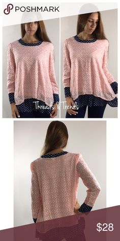 Pink Lace & Polka Dot Top Girly pink lace blouse featuring a layer of navy & white polka dot. Collar and arm opening features navy & white polka dots. Made of rayon, lace & poly. Size M/L. Bust 42 length 28 Tops Tees - Long Sleeve