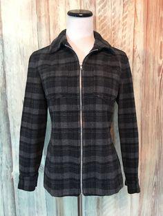 Classiques Entier Wool Blend Shirt Jacket Plaid Black Gray Zip Pockets sz S EUC! #ClassiquesEntier #ShirtJacket