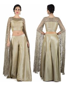 Grey palazzo suit with thread and sequin long slit sleeve Indian Attire, Indian Wear, Indian Outfits, Dress Outfits, Girl Outfits, Fashion Dresses, Tandoori Masala, Palazzo Suit, Western Outfits