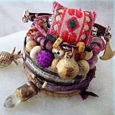 Tribal gypsy bangle set with Hmong embroidery sari silk by quisnam, $60.00