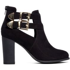 London Rebel Cut Out Strap Ankle Boots