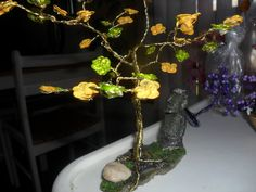 MY-Tree of Life made with NAIL polish flowers- a geode,real dirt &stones
