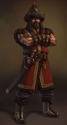 Atilla the Hun Concept--pity, costume is not correct historically, nor the body language. Unless Atilla was a lefty, the sword should be on the left side. Gangsters, Character Concept, Character Art, Character Design, Hungary History, Attila The Hun, Age Of Empires, Conquistador, Fantasy Warrior