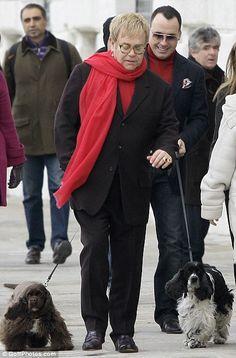 Elton John David Furnish Dog Arthur | Elton John's fashion sense runs out on him as he sports a tracksuit in ...