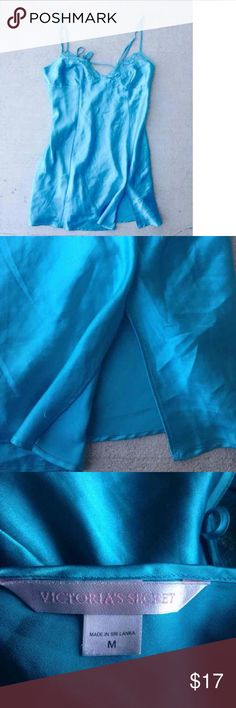 Victoria's Secret teal slip size medium Victoria's Secret teal slip. Size is medium. Has beautiful embroidery on cups. Has small slit in front to add some sexiness to it. Has some small snagging but nothing too noticeable. Will steam before mailing. Victoria's Secret Intimates & Sleepwear Chemises & Slips