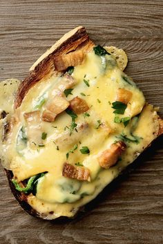 NYT Cooking: In Paris's small neighborhood cafés and bistros, kitchens are extremely small, consisting often of no more than a small wooden cutting board and a wall mounted heavy-duty toaster oven. At lunchtime a hot open-faced tartine — bubbling with fragrant cheese — is a popular menu choice. Similar to a piece of pizza, a tartine is constructed from a thick slice of rustic bread,%...