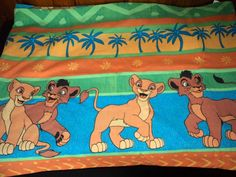 DISNEY Lion King Simba Twin Size Vintage Flat Sheet Child's Character Bed Linen