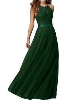 Amazon.com: Audrey Bride Sexy Halter Long Prom Dresses Beaded Evening Gowns for Woman: Clothing