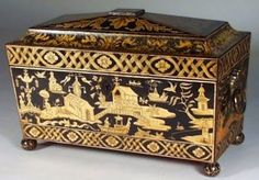 A Regency Penwork Chinoiserie Three Compartment Tea Caddy of Circa 1815