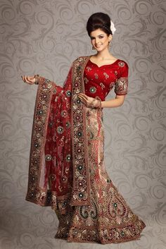 Red Net and Shimmer Bridal Lehengas 8719 With Unstitched Blouse