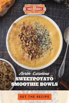 A hot spring day calls for a cold smoothie bowl. Blend this NC sweet potato smoothie bowl with cinnamon, almond butter, chia seeds, hemp seeds, and your choice of milk for a healthy meal at any time of the day. Clean Recipes, Healthy Recipes, Ww Recipes, Diabetic Recipes, Brunch Recipes, Smoothie Bowl, Smoothie Recipes, Smoothies, Sweet Potato Smoothie