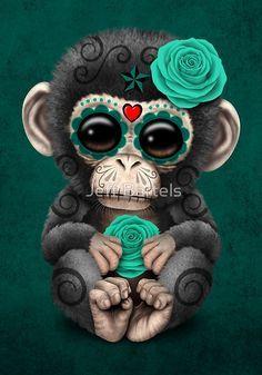 Teal Blue Day of the Dead Sugar Skull Baby Chimp | Jeff Bartels