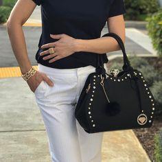 Diamond Chic Handbag in Black with Black Pom Pom Key Chain #TraciLynnJewelry