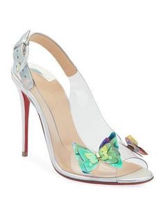 1e9c393b341f Christian Louboutin Ilcepoze 100 See-Through Red Sole Pumps with Butterfly