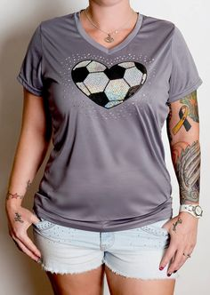 Soccer HEART BLING Dry-Fit Shirt by CraveGraphix on Etsy